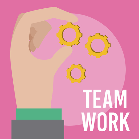 Business and teamwork hand with gears cartoons vector illustration graphic design Zdjęcie Seryjne - 123988786