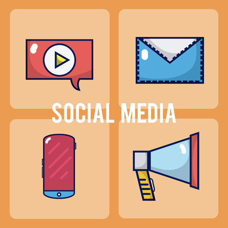 Set of social media square icons vector illustration graphic design Vetores
