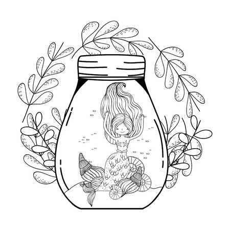 beautiful mermaid with leafs crown Иллюстрация