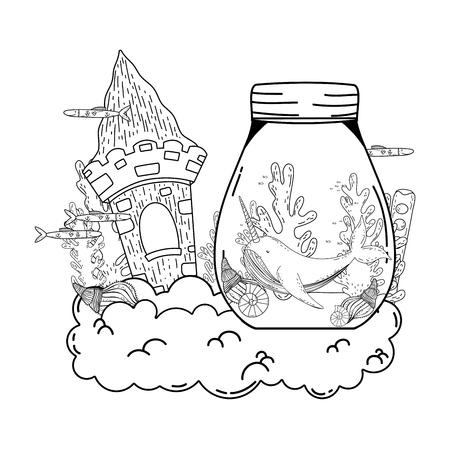 cute narval in mason jar vector illustration design