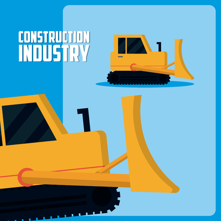 Construction industry with backhoe vector illustration graphic design
