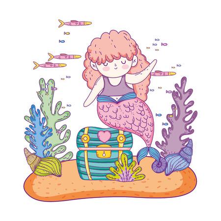 beautiful mermaid with treasure chest and seaweed  イラスト・ベクター素材