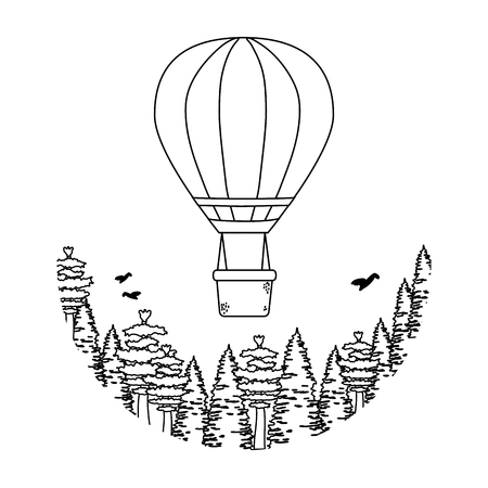 balloon air hot flying with pines vector illustration design