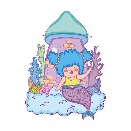 beautiful mermaid with castle scene