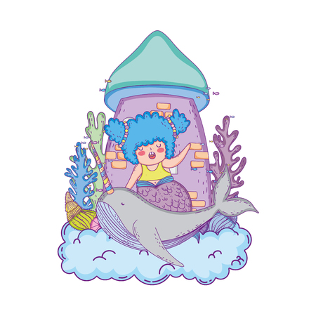 beautiful mermaid with narval fairytale character  イラスト・ベクター素材