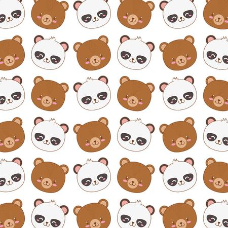 cute woodland animals characters pattern vector illustration design Иллюстрация