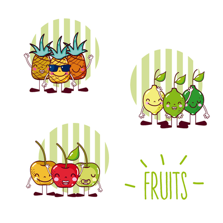Set of cute fruits cartoons Illustration
