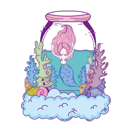 beautiful mermaid in mason jar with seaweed