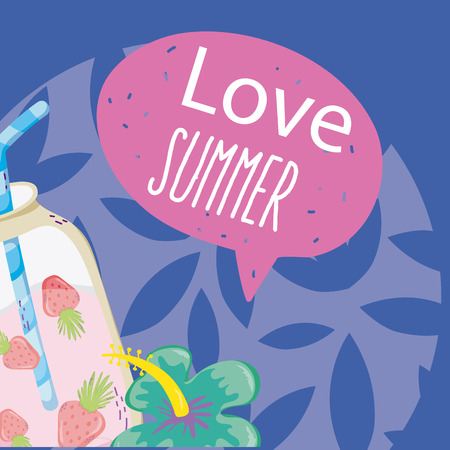 Summer cartoon with exotic bird and elements vector illustration graphic design