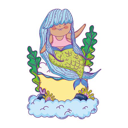 beautiful mermaid with tub in clouds Ilustração