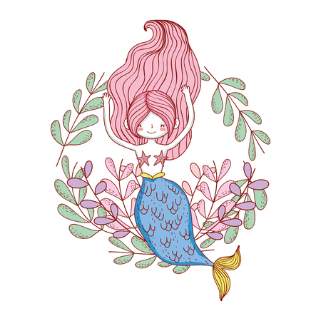 beautiful mermaid with leafs crown Ilustrace