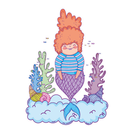beautiful mermaid with seaweed fairytale character