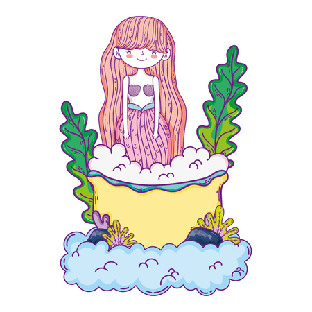 beautiful mermaid with tub in clouds Stock Illustratie