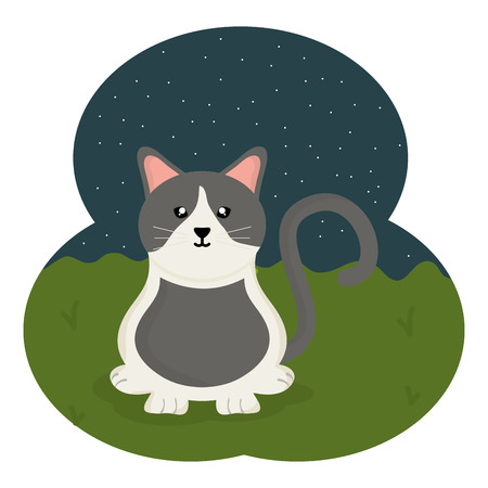 cute little cat mascot in the field vector illustration design