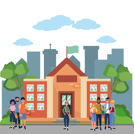 young people friends men and women enjoying at high school building cartoon vector illustration graphic design 矢量图像