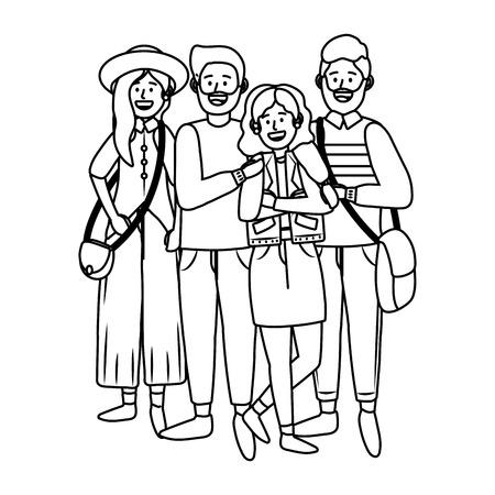 young people friends men and women enjoying cartoon vector illustration graphic design Vektorové ilustrace