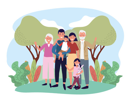 happy man and woman with their kids and parents vector illustration 向量圖像