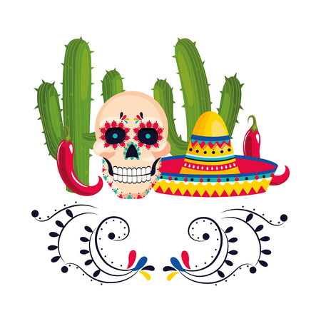 mexican culture mexico day of dead skull with mexican elements cartoon vector illustration graphic design