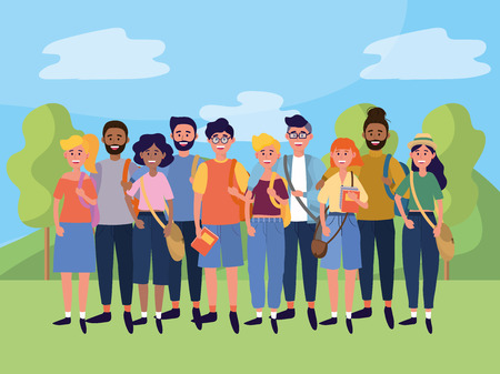 young people friends men and women enjoying at nature field cartoon vector illustration graphic design