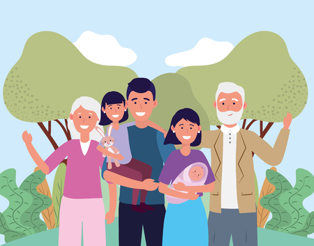 man and woman with their baby and daughter and parents vector illustration