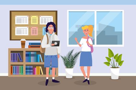 boy and girl with education tablet in the classroom vector illustration Vektoros illusztráció