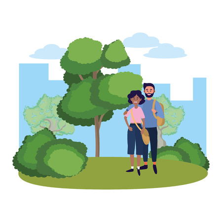 young people friends couple enjoying at nature park cartoon vector illustration graphic design Vektorové ilustrace