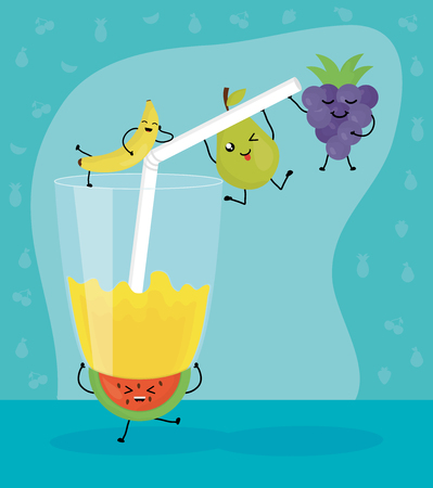 fresh juice fruits in glass characters Illustration