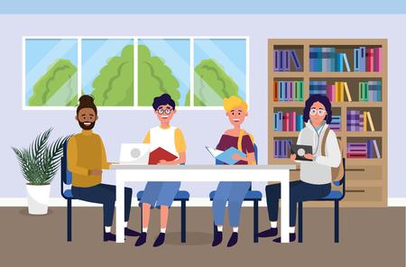 girls and boys in the university to education knowledge vector illustration Illusztráció