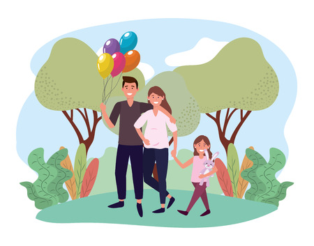 cute woman and man with their cute daughter vector illustration