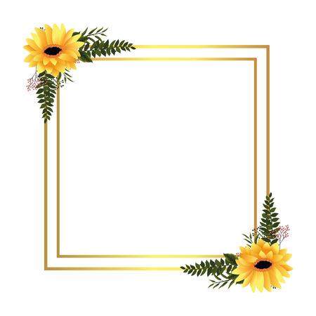 Diseño gráfico del ejemplo del vector de la historieta del marco de las flores tropicales florales