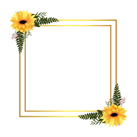 floral tropical flowers frame cartoon vector illustration graphic design