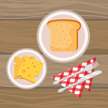 delicious tasty breakfast with wooden background cartoon vector illustration graphic design