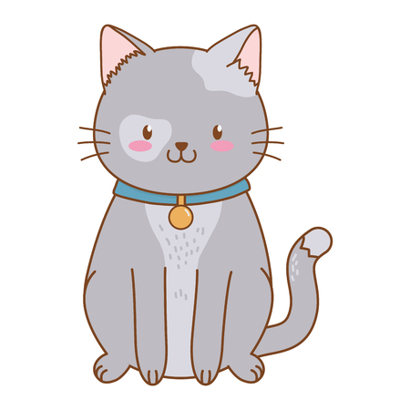 cute funny pet cat cartoon vector illustration graphic design