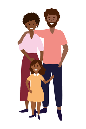 couple with child avatar cartoon character vector illustration graphic design Vettoriali