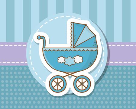 baby shower card with blue cart vector illustration design Ilustração