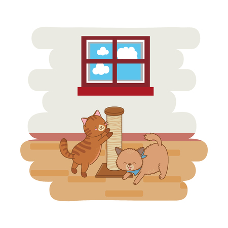 cute funny pets cats playing with tree toy cartoon vector illustration graphic design
