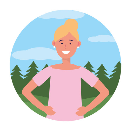 woman portrait avatar cartoon character ponytail outdoor rural landscape round icon vector illustration graphic design