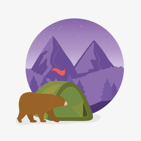 wanderlust label with landscape and bear grizzly scene vector illustration design  イラスト・ベクター素材