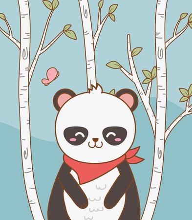 cute bear panda woodland character