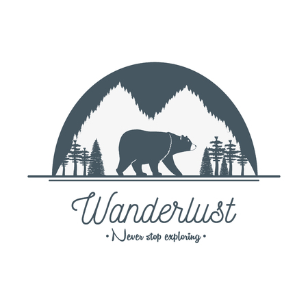 wanderlust label with forest scene and grizzly bear Banque d'images - 120479633