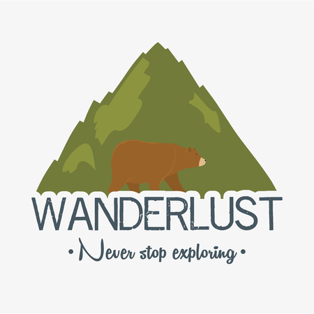 wanderlust label with landscape and bear grizzly scene Ilustração