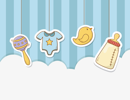 baby shower card with set items vector illustration design 스톡 콘텐츠 - 123806806