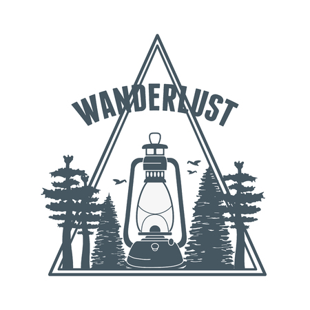 wanderlust label with forest scene and kerosene lamp vector illustration design
