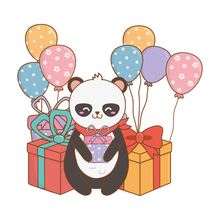 cute adorable animal panda bear birthday party scene festive cartoon vector illustration graphic design