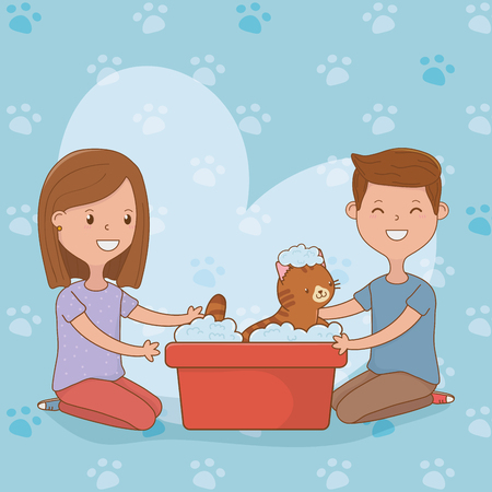 young couple with cute cat mascot vector illustration design