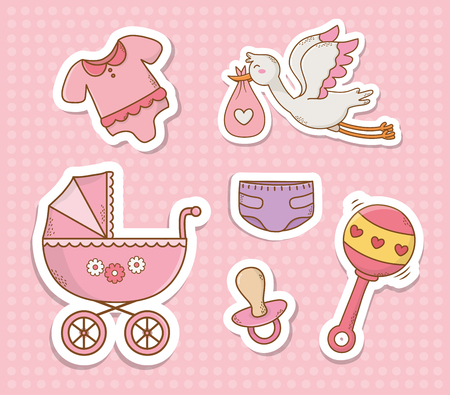 baby shower card with set items vector illustration design 스톡 콘텐츠 - 123807097