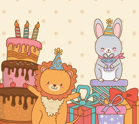 birthday card with cute animals woodland vector illustration design