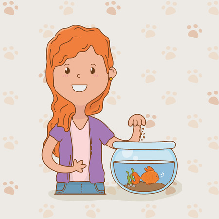 young woman with cute fish mascot vector illustration design