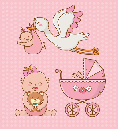 baby shower card with pink cart and storck vector illustration design