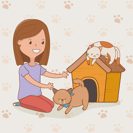 young woman with cute cats mascot vector illustration design
